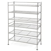 Seville Classics 3-Tier Iron Mesh Utility Shoe Rack, 2-Pack, Satin Pewter(WEB257)