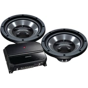 "Kenwood P-W1021 10"" Bass Party Pack (KAC-5207 2-Channel Amp & 2 KFC-W110S Subwoofers)"