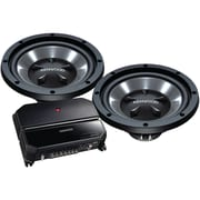 "Kenwood P-W1221 12"" Bass Party Pack (KAC-5207 2-Channel Amp & 2 KFC-W112S Subwoofers)"