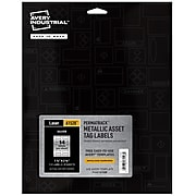 """Avery PermaTrack Metallic Laser Asset Tags, 1-1/4"""" x 2-3/4"""", Silver, 14 Labels/Sheet, 8 Sheets/Pack (61528)"""