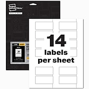 """Avery PermaTrack Laser Asset Tags, 1-1/4"""" x 2-3/4"""", White, 14 Labels/Sheet, 8 Sheets/Pack (61529)"""