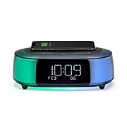 iHome Timeboost Glow Qi Fast Charging Color Changing Bluetooth Alarm Clock (IBTW281B)