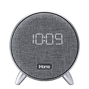 iHome Powerclock Bluetooth Alarm Clock with USB Charging and Ambient Light, Gray (IBT235G)