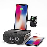 iHome TimeBase Pro+ Triple Charging Bluetooth Alarm Clock with Wireless Fast Charging (IWBTW200B)