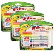 Crayola Dry Erase Marker, Fine Tip, Assorted, 12/Box, 3 Boxes/Bundle (BIN985912)