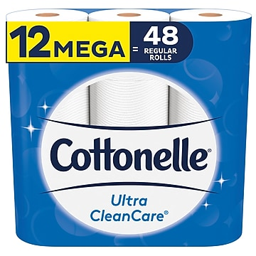 Cottonelle Ultra CleanCare 1-Ply Standard Toilet Paper, 340 Sheets/Roll, 12 Rolls/Case (47804)