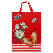 4 pack Medium Gift Bag - Red Vintage Butterfly Gift Bags Perfect for Weddings, Birthday and Graduation Presents