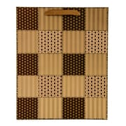 4 pack Medium Gift Bag - Mocha Checker Quilt Gift Bags Perfect for Weddings, Birthday and Graduation Presents