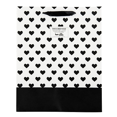 4 pack Medium Gift Bag - White Black Heart Gift Bags Perfect for Weddings, Birthday and Graduation Presents