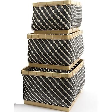 Kaemingk Set of 3 Basic Luxury Gunmetal Gray and White Striped Baskets 15