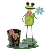 """Select Artificial 15"""" Green Frog With Flowers on a Lily Pad Decorative Spring Outdoor Garden Planter (32021265)"""