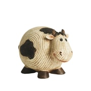 "Northlight 7"" Grooved White and Black Roly-Poly Stone Cow Indoor/Outdoor Statue Decoration (32229682)"