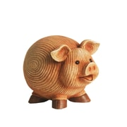 "Northlight 7"" Grooved Pink Roly-Poly Stone Pig Indoor/Outdoor Statue Decoration (32229693)"