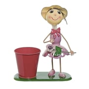 "Select Artificial 13"" Girl With Purple Dress and Flower Decorative Spring Outdoor Planter (32021251)"