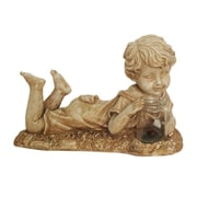 """Northlight 14"""" Distressed Almond Brown Lounging Boy Solar Powered LED Lighted Outdoor Patio Garden Statue (32233879)"""