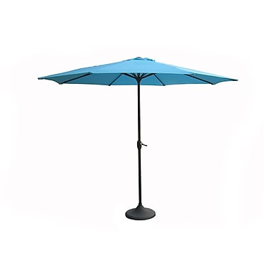 LB International 9' Outdoor Patio Market Umbrella with Hand Crank and Tilt - Turquoise Teal (30931217)