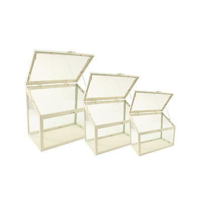 Northlight Set of 3 Antique-White Metal and Glass Paneled Nesting Outdoor Greenhouse Terrariums 8.25