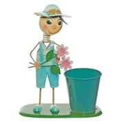 """Select Artificial 13.5"""" Boy With Blue Overalls and Pink Flowers Decorative Spring Outdoor Garden Planter (32021256)"""