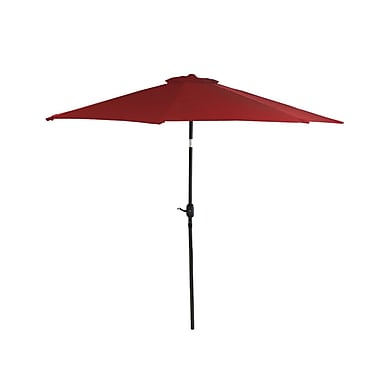 LB International 9' Outdoor Patio Market Umbrella with Hand Crank and Tilt - Red and Black (28406080)