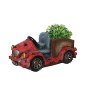 """Northlight 14.5"""" Distressed Red Vintage Car LED Lighted Solar Powered Outdoor Garden Patio Planter (32231059)"""