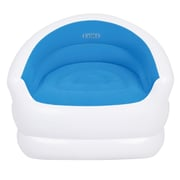 "Pool Central 37"" White and Blue Color-Splash Indoor/Outdoor Inflatable Lounge Chair (32148652)"