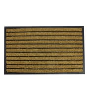 "Northlight Decorative Black Rubber and Coir Striped Outdoor Rectangular Door Mat 29.5"" x 17.75"" (32041045)"