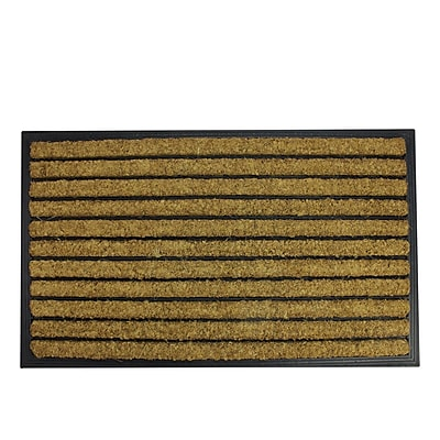 Northlight Decorative Black Rubber and Coir Striped Outdoor Rectangular Door Mat 29.5