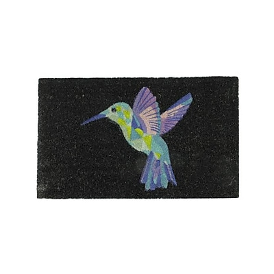 Northlight Black and Multi-Color Bird Outdoor Coir Rectangular Door Mat 29.5