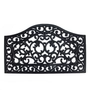 "Northlight Decorative Black Scroll Outdoor Rubber Door Mat 29.5"" x 17.75"" (32039572)"