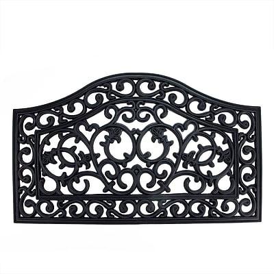 Northlight Decorative Black Scroll Outdoor Rubber Door Mat 29.5