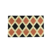 "Northlight Black Burnt Orange and Cream Coir Tribal Outdoor Rectangular Door Mat 29.5"" x 17.75"" (32041066)"