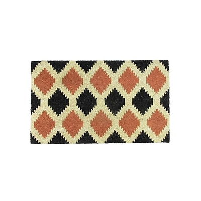 Northlight Black Burnt Orange and Cream Coir Tribal Outdoor Rectangular Door Mat 29.5