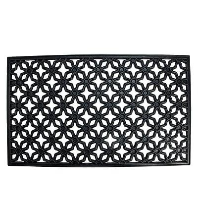 Northlight Decorative Black Rubber Outdoor Rectangular Door Mat 29.5
