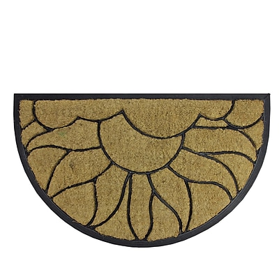 Northlight Decorative Black Rubber and Coir Outdoor Half Round Door Mat 29.75