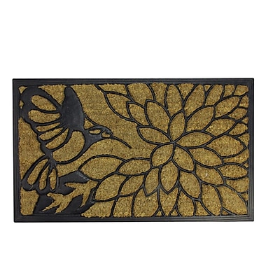 Northlight Decorative Black Rubber and Coir Outdoor Rectangular Door Mat 29.75