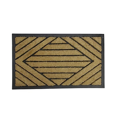 Northlight Decorative Black Rubber and Coir Outdoor Rectangular Door Mat 29.5