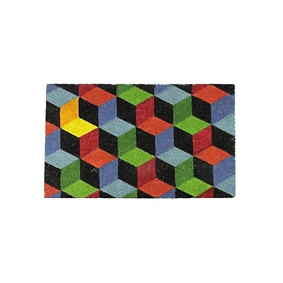 Northlight Decorative Multi-Color Cube Coir Outdoor Rectangular Door Mat 29.5