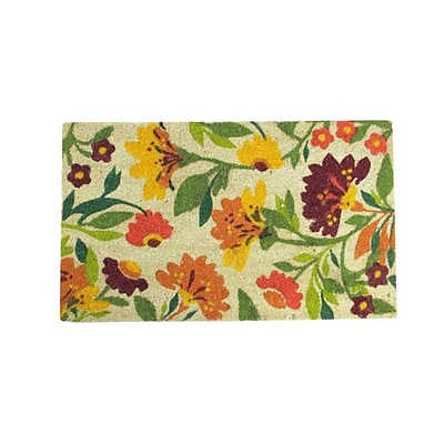 Northlight Decorative Multi-Color Spring Floral Coir Outdoor Rectangular Door Mat 29.75