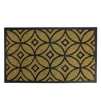 Northlight Decorative Black Rubber and Coir Outdoor Rectangular Door Mat 30
