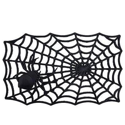 Northlight Decorative Black Spider Web Outdoor Rubber Halloween Door Mat 29