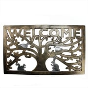 "Northlight Decorative Copper and Silver ""Welcome"" Outdoor Rectangular Rubber Door Mat 30"" x 18"" (32041011)"