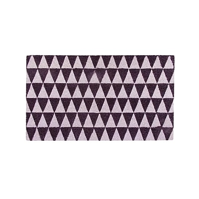 Northlight Decorative Black and Pale Pink Triangle Print Coir Outdoor Rectangular Door Mat 29.5