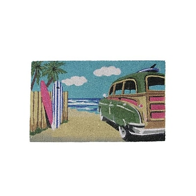 Northlight Decorative Multi-Color Car on Beach Coir Outdoor Rectangular Door Mat 29.75