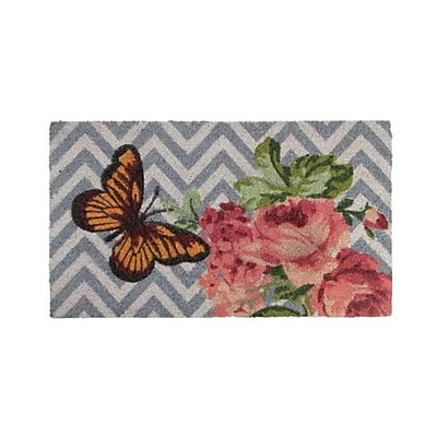 Northlight Decorative Multi-Color Rose and Butterfly Spring Coir Outdoor Rectangular Door Mat 29.5