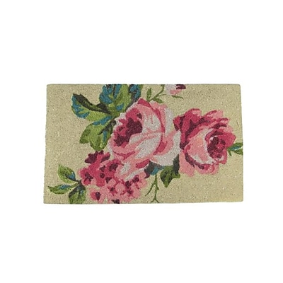 Northlight Decorative Pink Green and Tan Spring Floral Coir Outdoor Rectangular Door Mat 30
