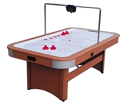 Pool Central 7' x 4' Recreational Brown White and Red Air Hockey Game Table (32283731)