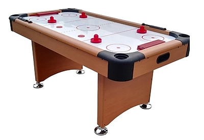 Pool Central 6' x 3' Brown White and Red Recreational Air Hockey Game Table (32283730)