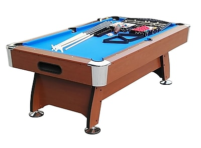 Pool Central 7' x 3.98' Brown and Blue Deluxe Billiard Pool and Snooker Game Table (32283690)