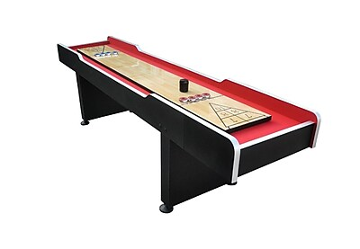 Pool Central 9' x 2' Recreational Red and Black Shuffleboard Game Table (32283692)