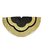 "Northlight 48"" Black and Gold Embossed Velvet Silk Brocade and Metallic Trim Scallop Christmas Tree Skirt (32231699)"